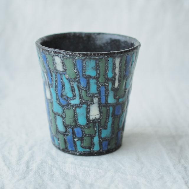 土色絵のフリーカップ/青【在庫限り】