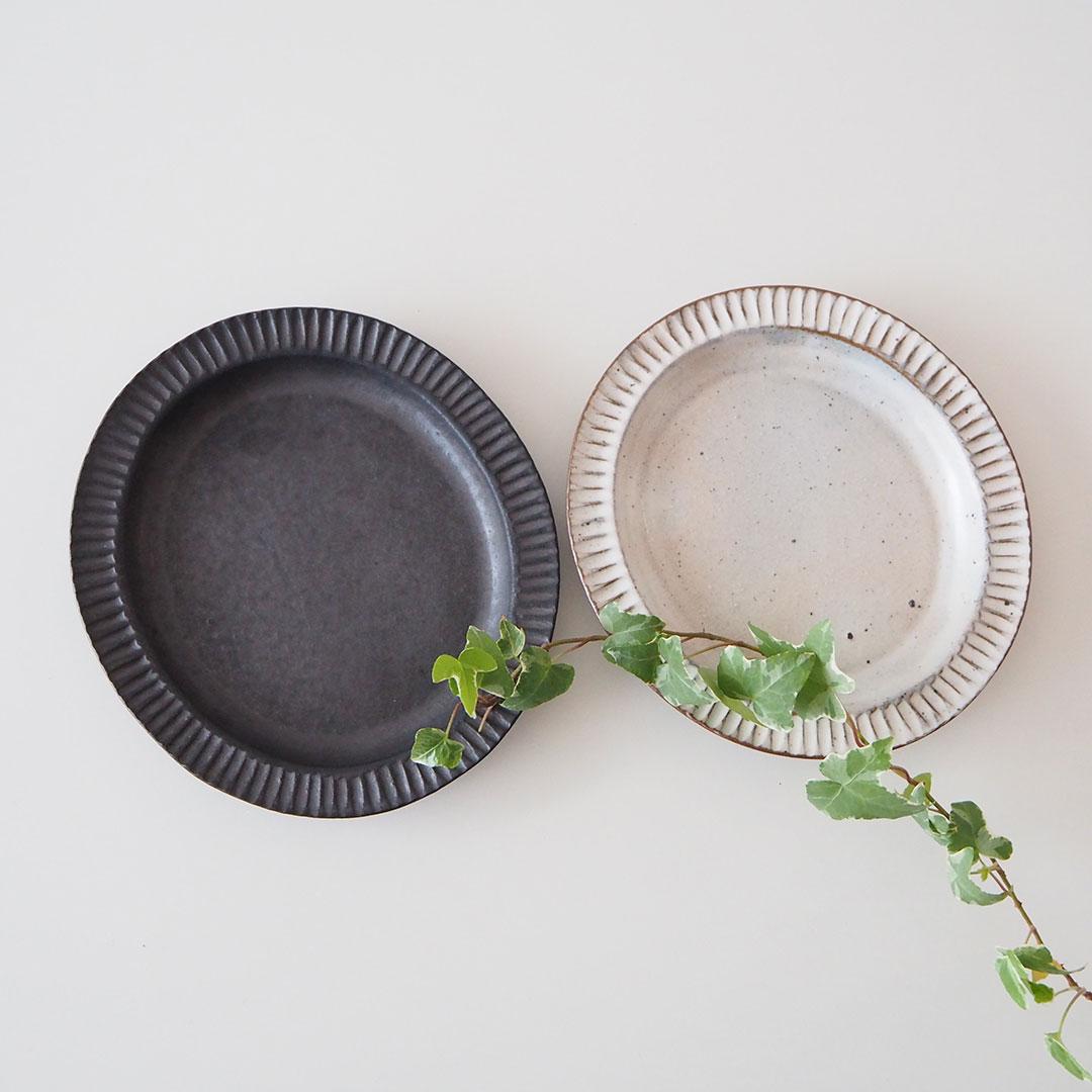粉引/リム楕円皿/20cm