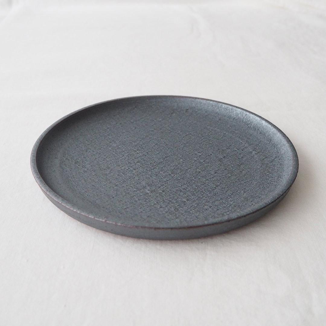 鉄灰釉/7寸プレート皿