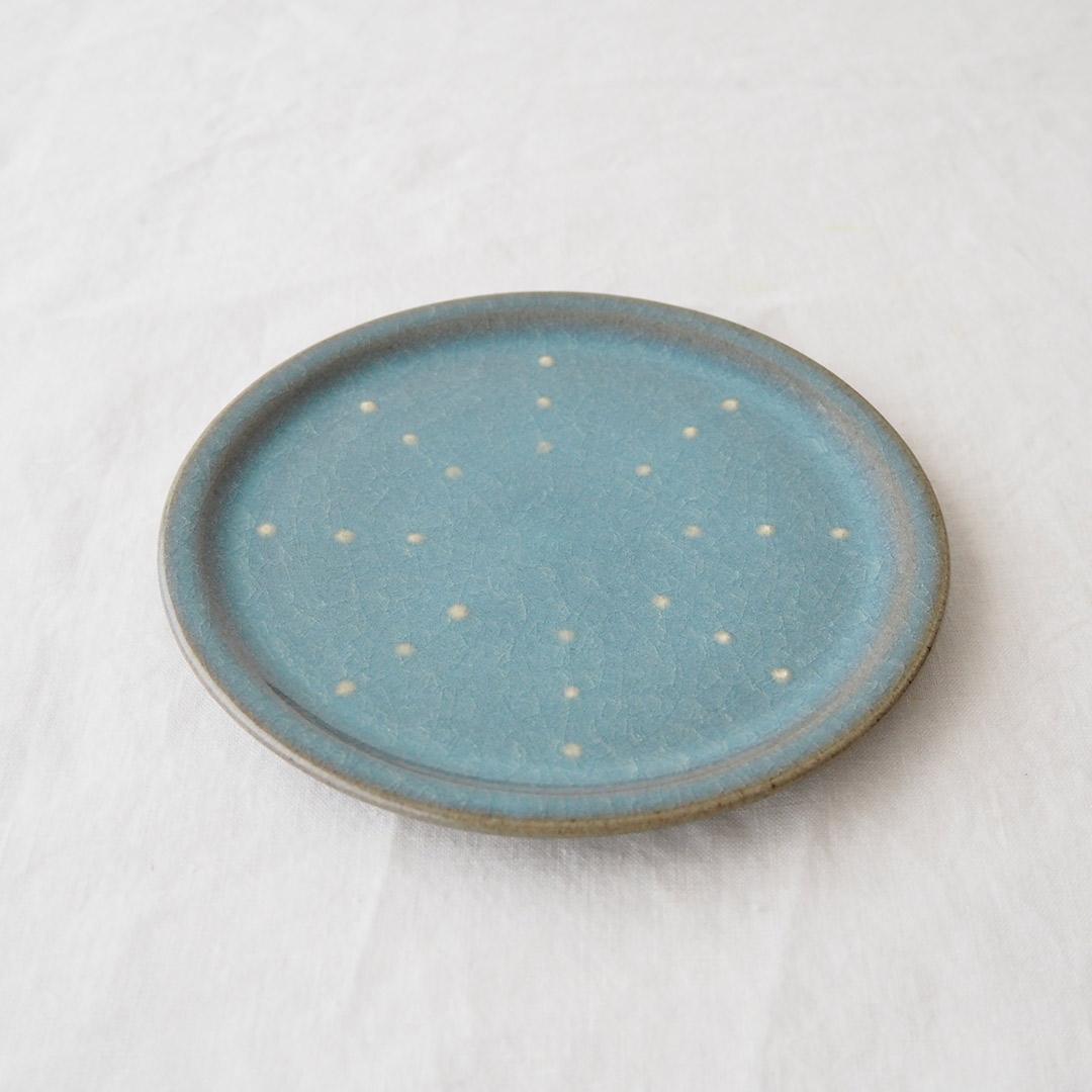 青磁水玉/5寸プレート皿
