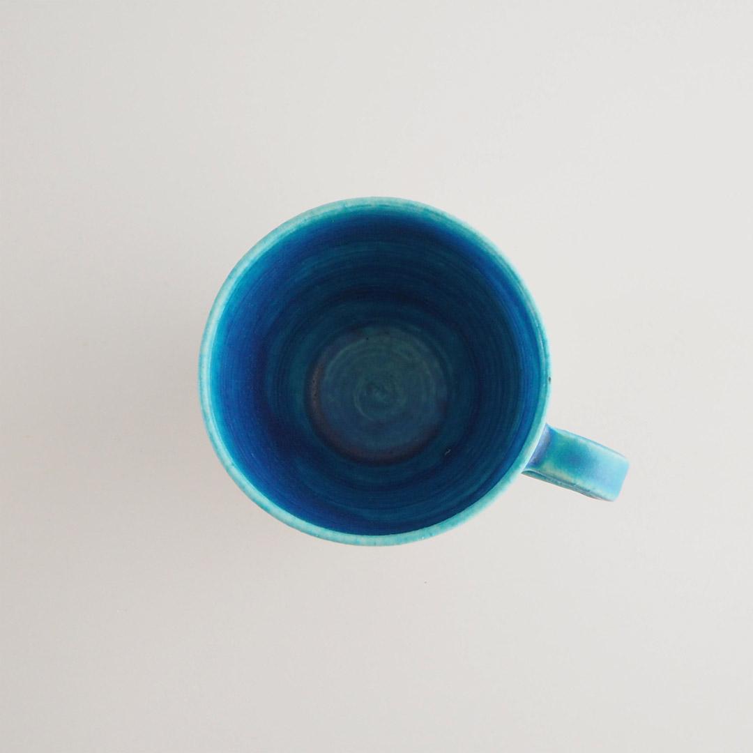 アドリブツートン/三角マグカップ/トルコブルー