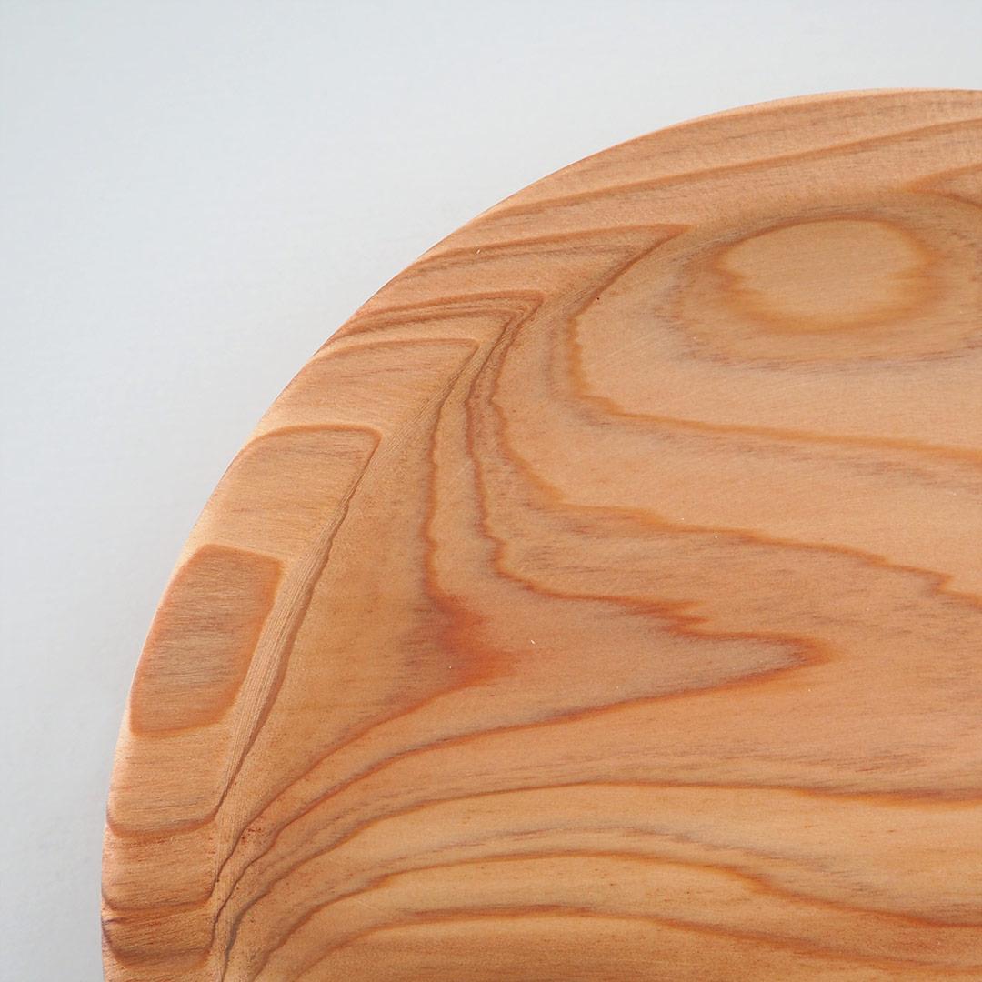 糸島杉のリム皿/ナチュラル/15cm