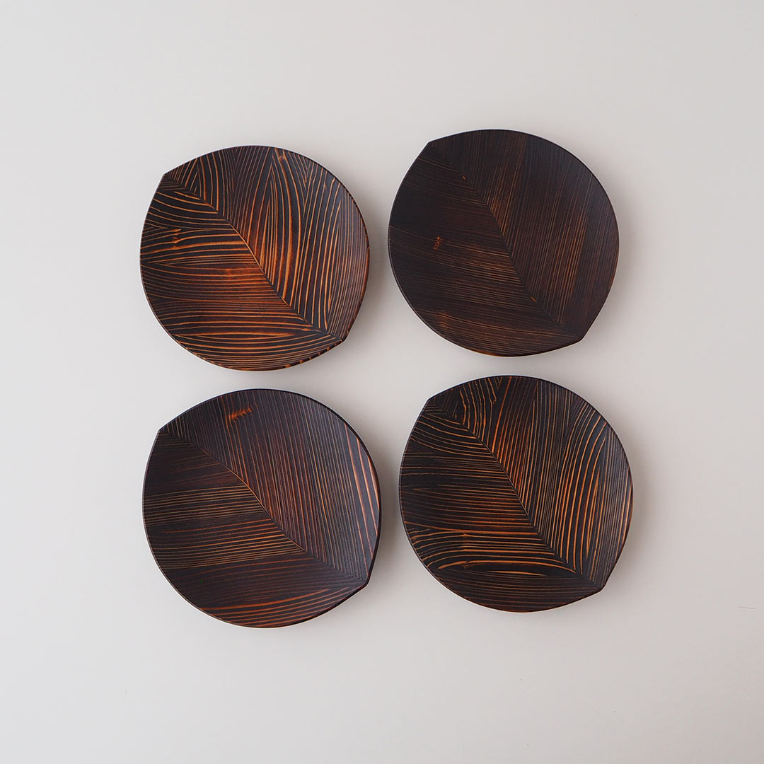 箱入りギフト/うるしの木の葉皿(小)/4点セット