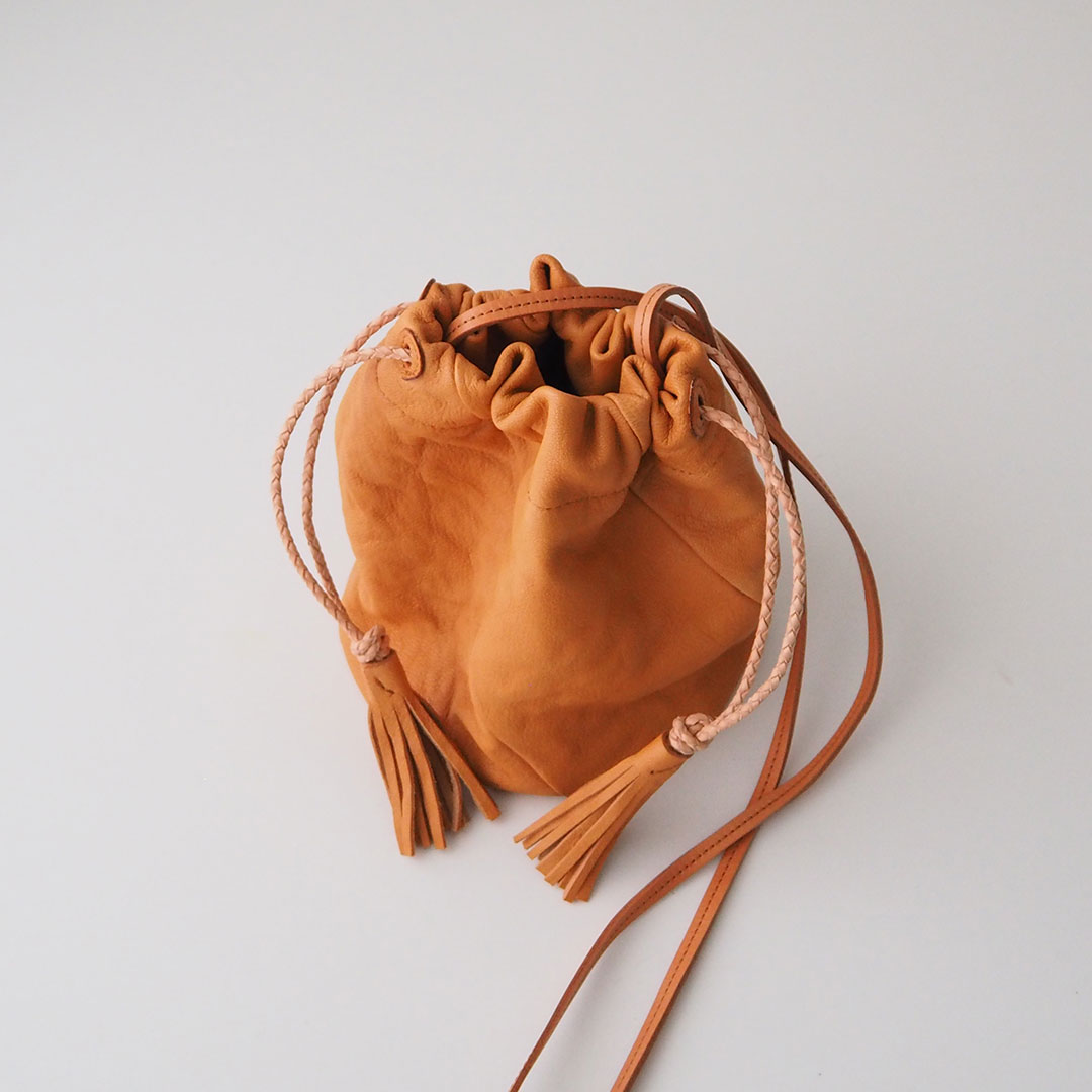 Biku/山羊革巾着ポシェット/ナチュラル【受注生産】