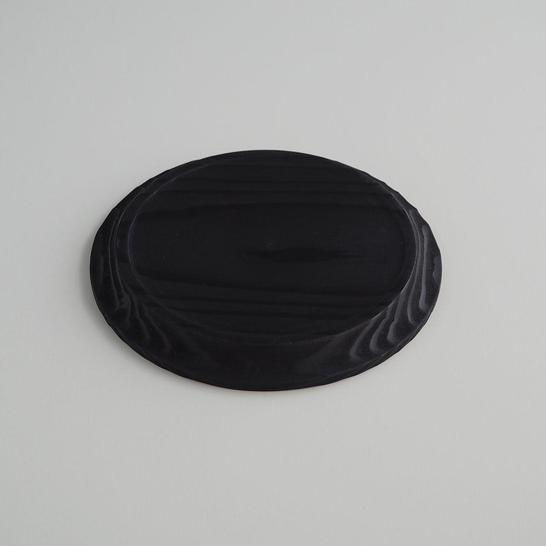 糸島杉のリム皿/墨黒/15cm