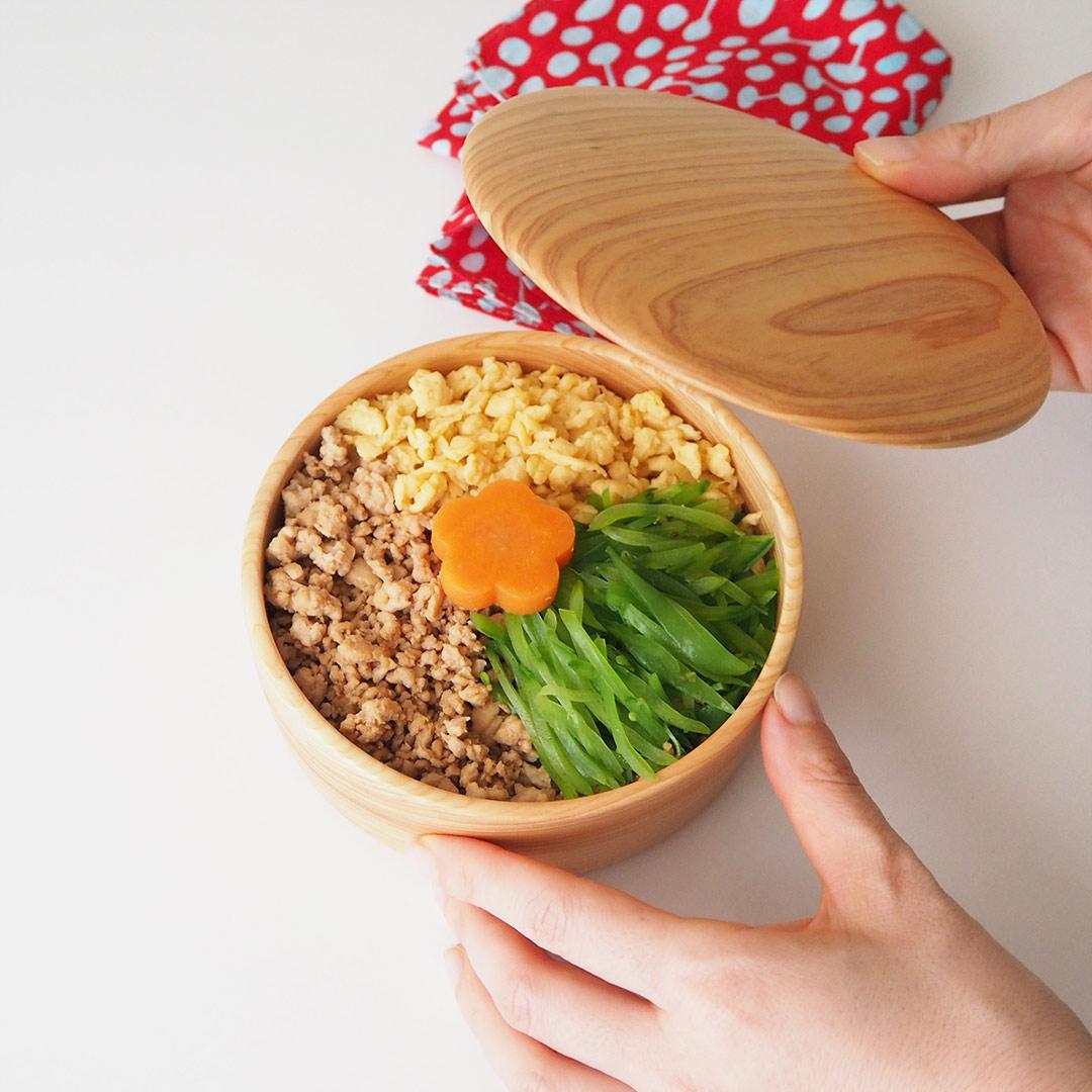 糸島ひのきの丸い弁当箱/3段