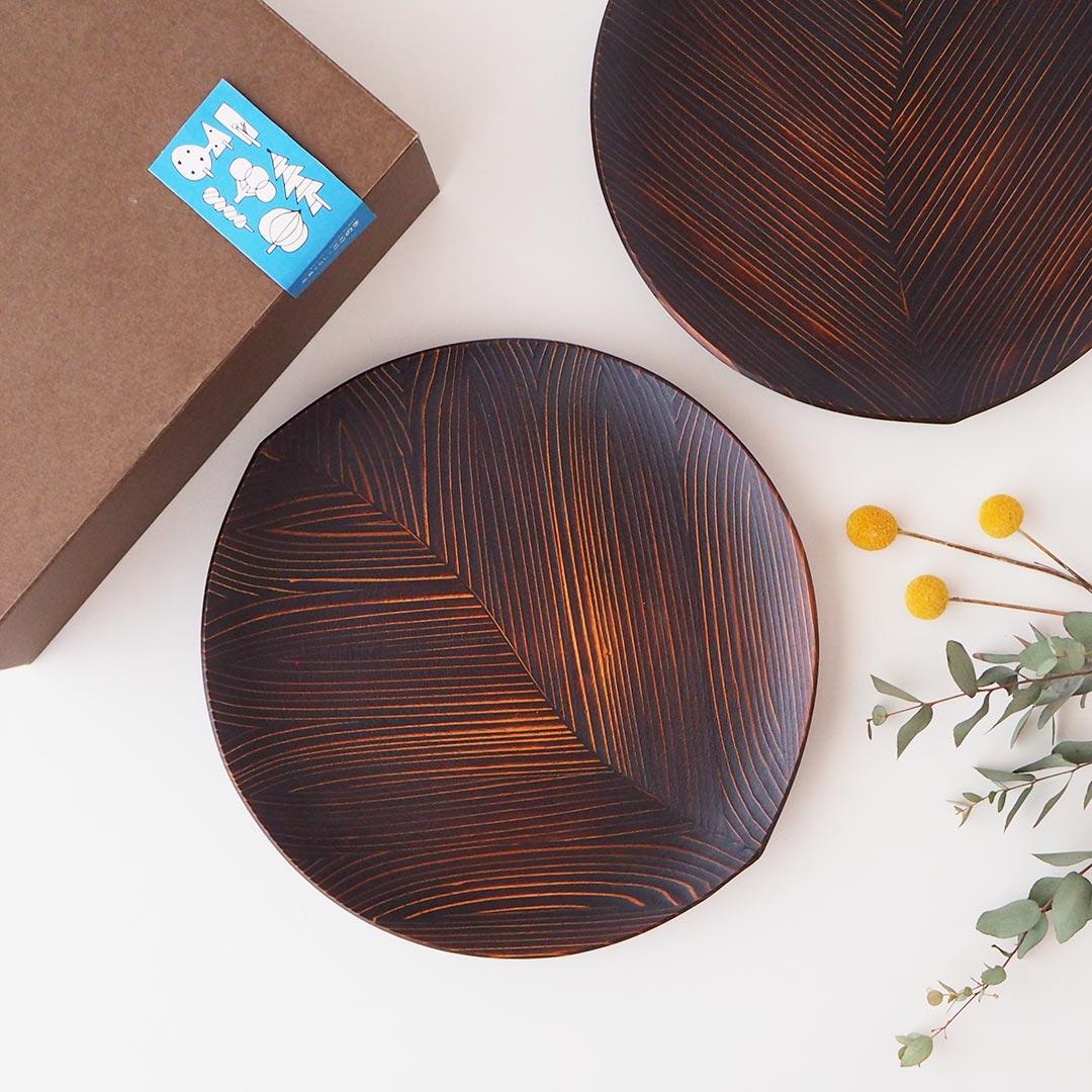 箱入りギフト/うるしの木の葉皿(大)/2点セット