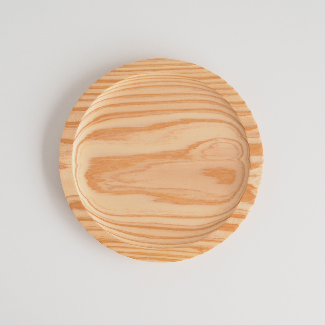 糸島杉のリム皿/ナチュラル/18cm