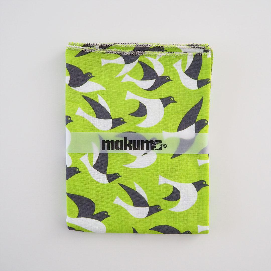 手ぬぐいタオル/鳥/黄緑