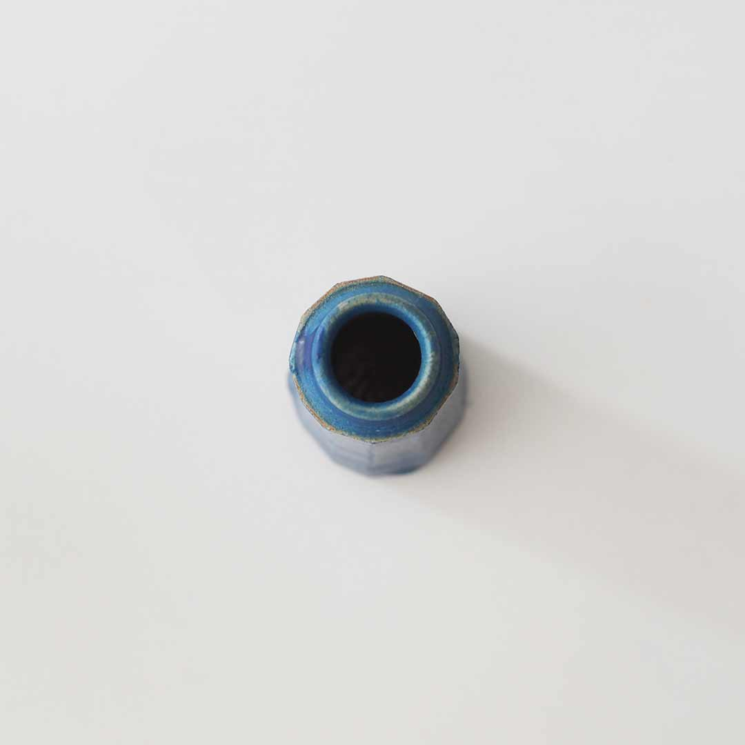 小型一輪挿し/面取り/青/ロング
