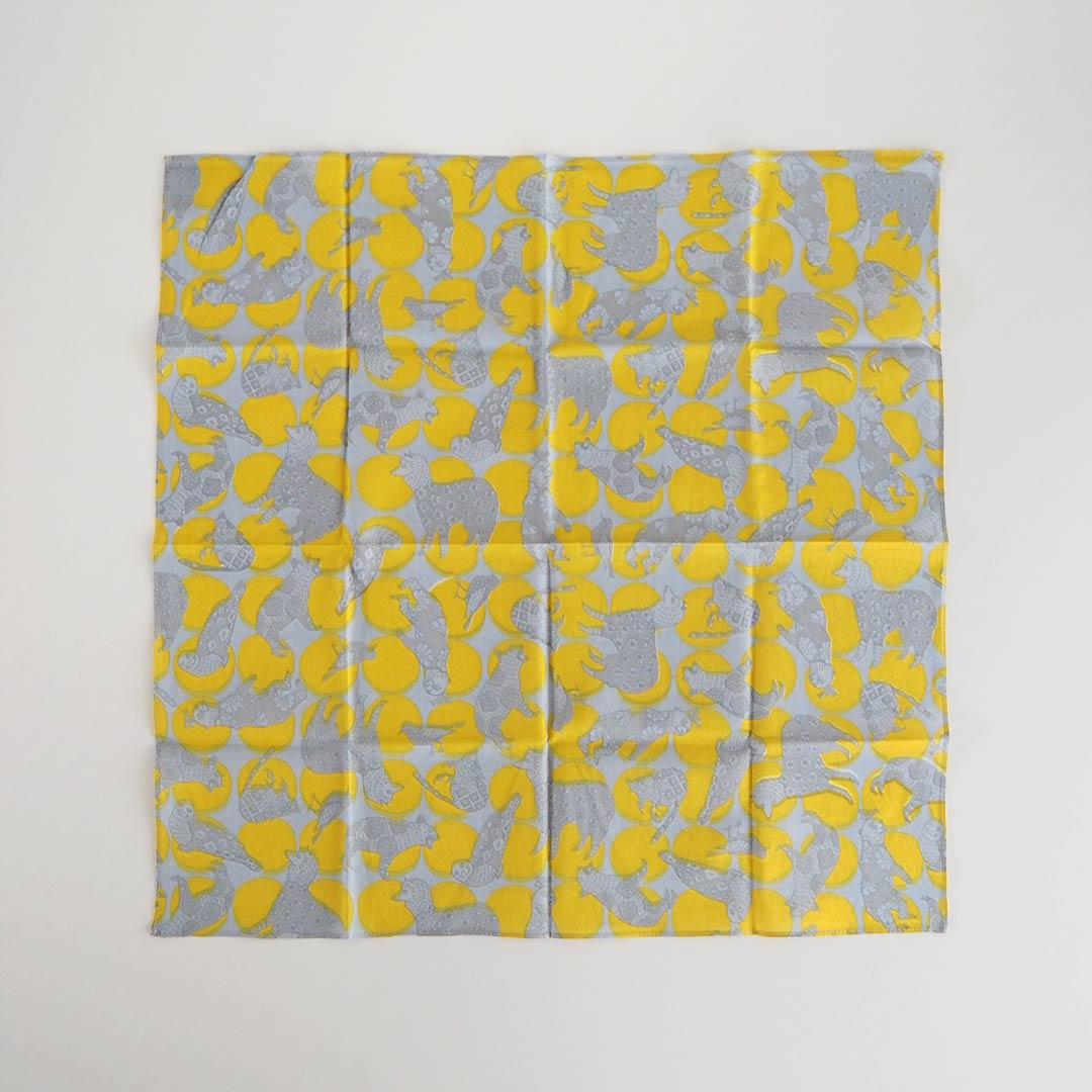 ハンカチ/動物Dots/黄色