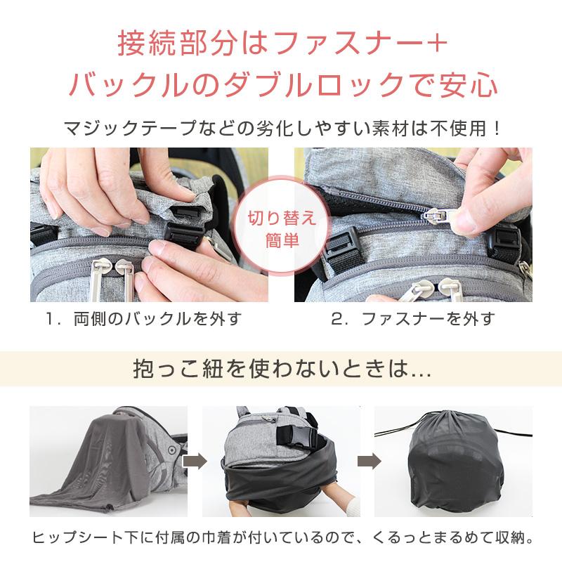 【全額返金保証付】ヒップシート付き抱っこ紐hugraku