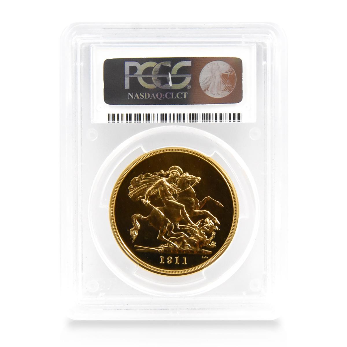 1911年 ジョージ5世 5ポンド金貨 PCGS PR64