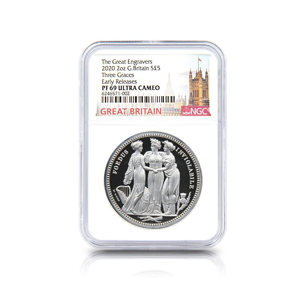 2020 エリザベス2世 スリーグレーセス 5ポンド2オンス銀貨 ロイヤルミント発行 アーリーリリース NGC PF69UC 箱付き
