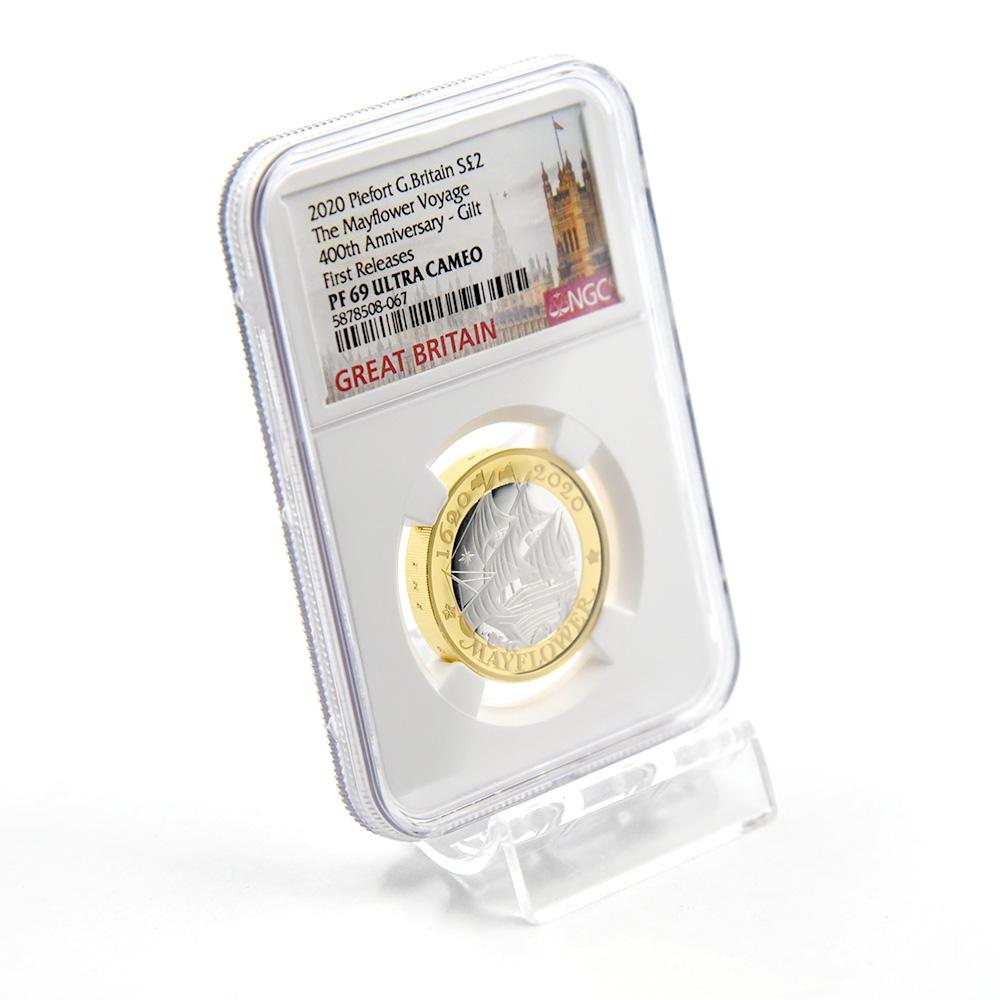 2020 エリザベス2世 メイフラワー号出航400周年 2ポンドピエフォー銀貨 金メッキ付 ファーストリリース NGC PF69UC (国会議事堂)
