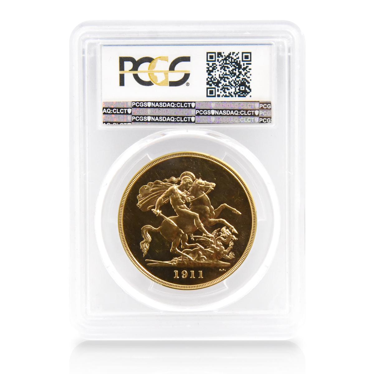 1911年 ジョージ5世 5ポンド金貨 PCGS PR64CAM