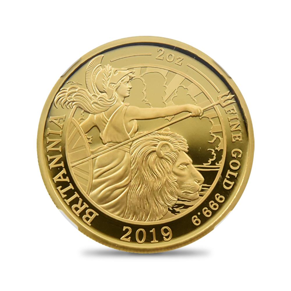 2019 エリザベス2世 ブリタニア 200ポンド2オンス金貨 ファースト50ストラック NGC PF70UC 箱付き