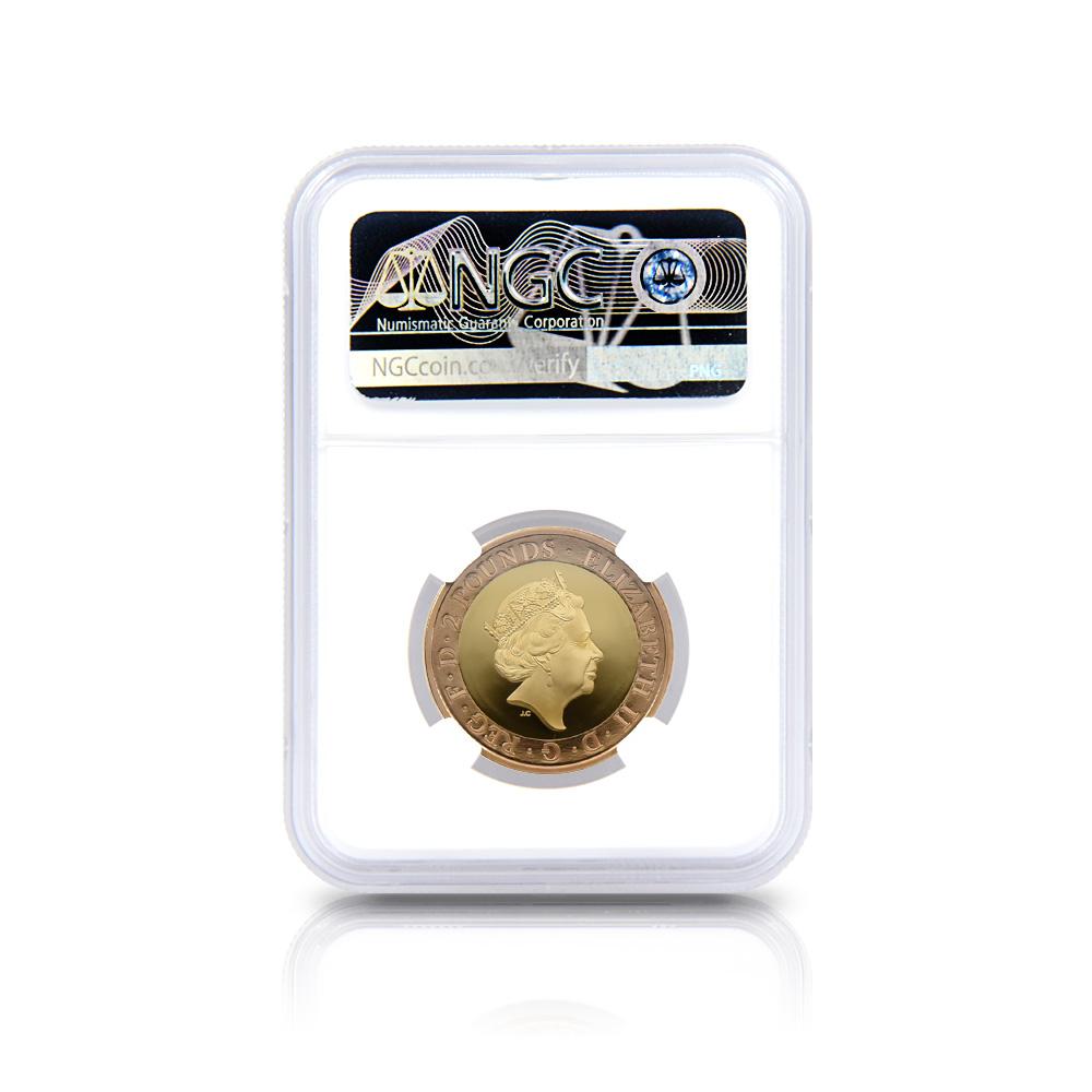 2020 エリザベス2世 メイフラワー号出航400周年 2ポンド2色金貨 ファーストリリース NGC PF70UC (国会議事堂)