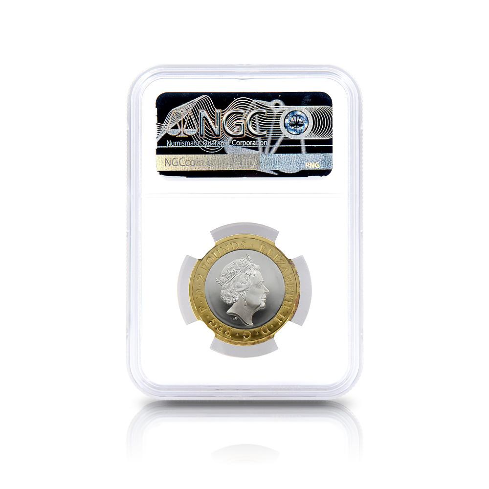 2020 エリザベス2世 メイフラワー号出航400周年 2ポンド銀貨 金メッキ付 NGC PF69UC (国会議事堂)