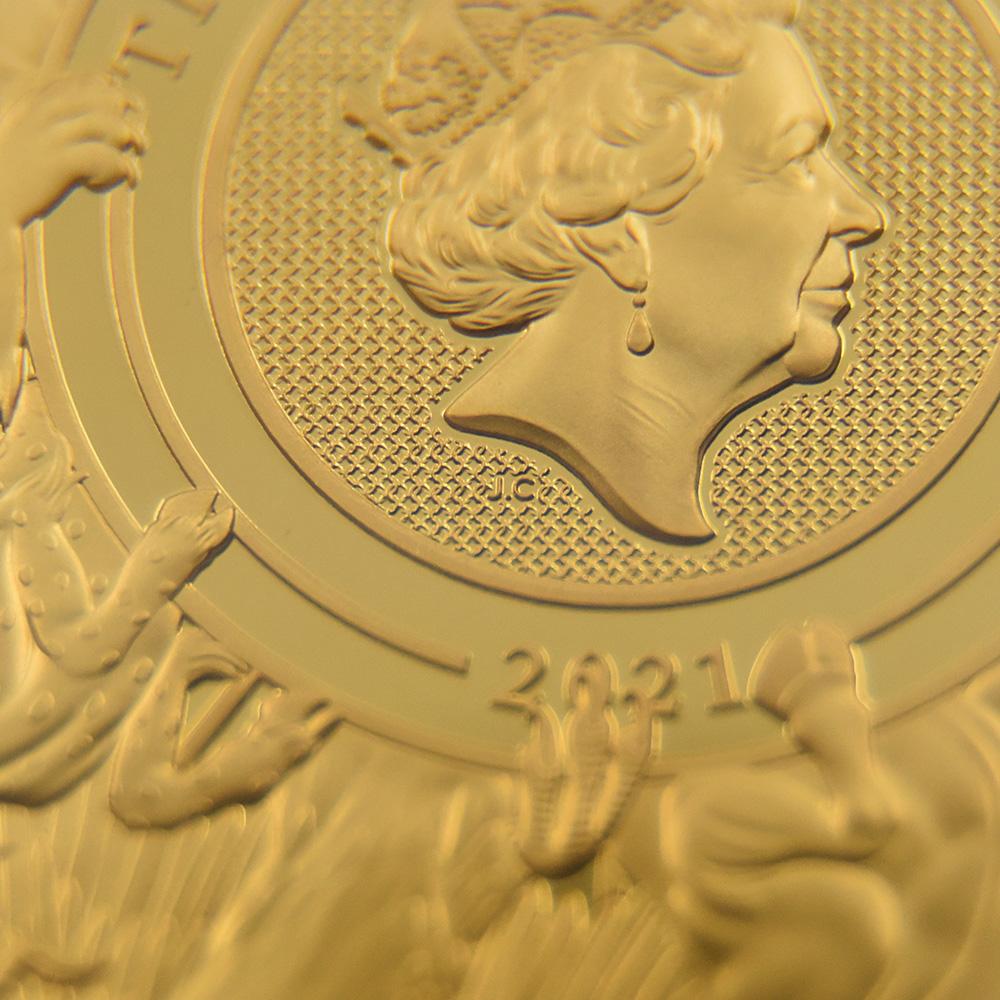 2021 エリザベス2世 クイーンズビースト コンプリーター 英国王室の十大守護獣 500ポンド5オンス金貨 ファーストリリース NGC PF69UC 箱付き