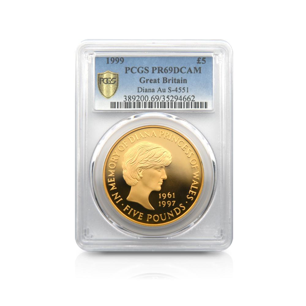1999 ダイアナ妃追悼 5ポンド金貨 PCGS PR69DC