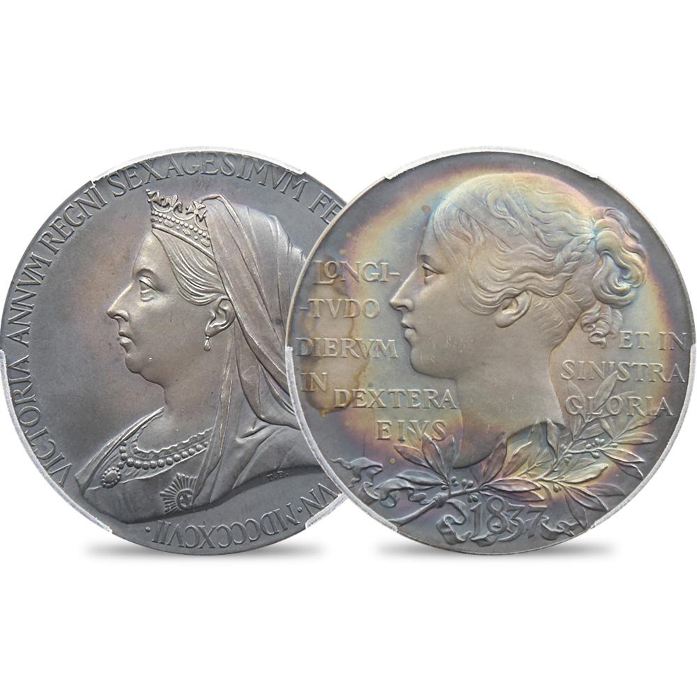 1897 ヴィクトリア女王 戴冠60周年記念 ヴェールヘッド 銀試作メダル PCGS SP63