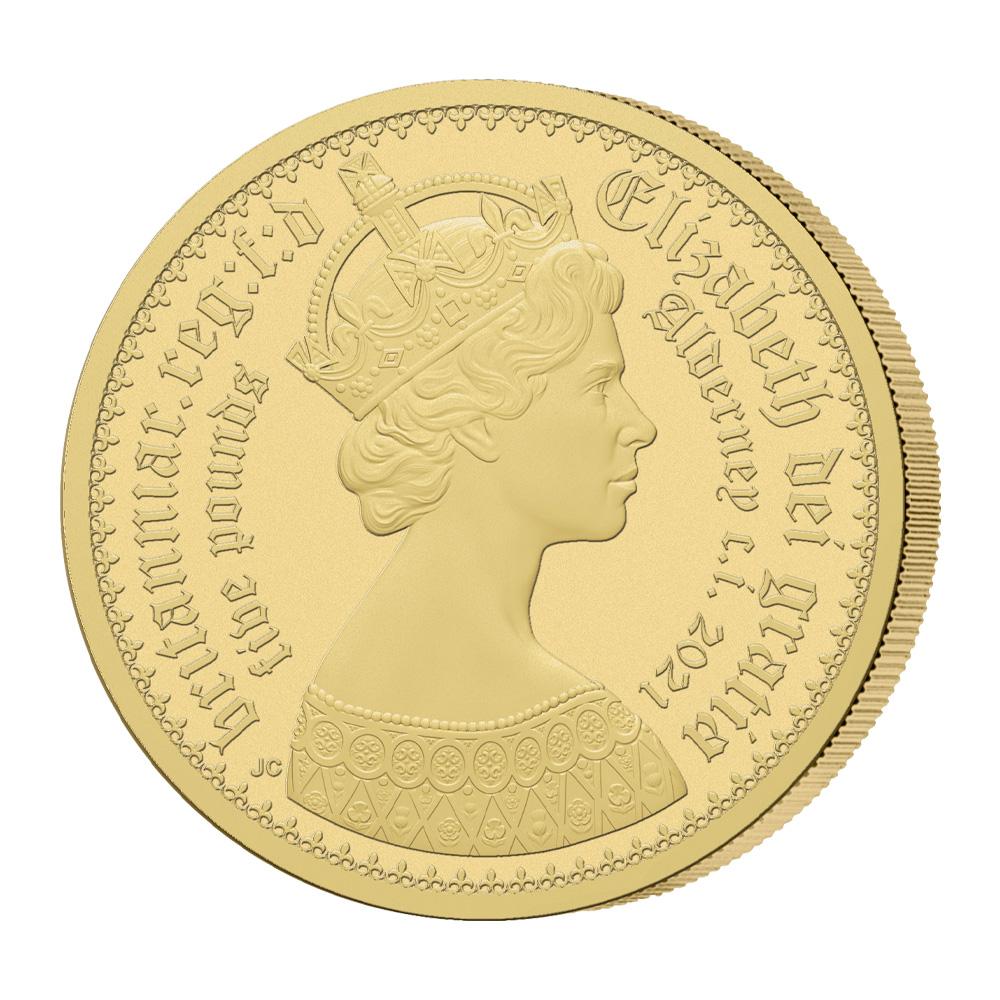 オルダニー島 2021 エリザベス2世 ニューゴチッククラウン 5ポンド金貨 2枚セット マットプルーフ仕上げ PCGS PR70DC鑑定品 発行数125セット【ご予約承り品】
