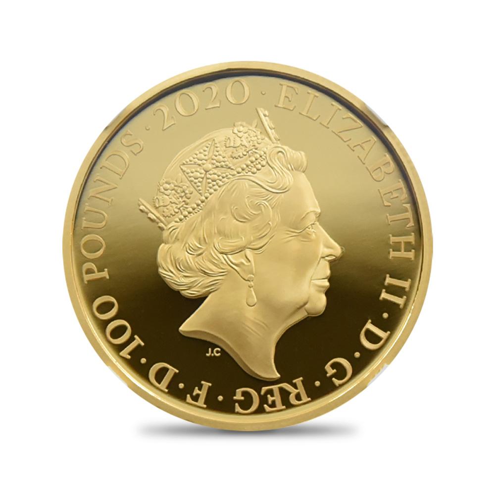2020 エリザベス2世 007 ジェームズ・ボンド 第3貨 100ポンド金貨 ファーストリリース NGC PF70UC