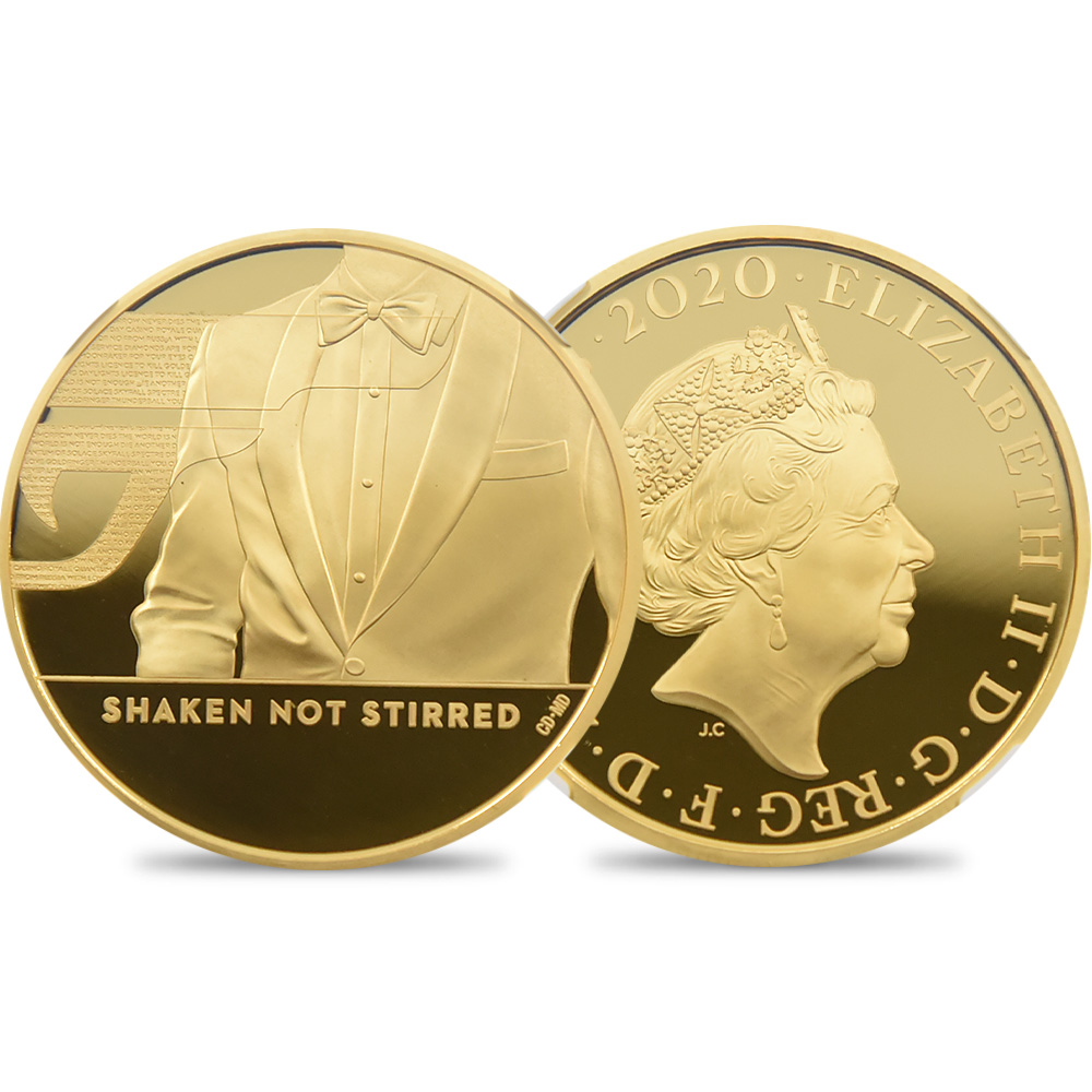 2020 エリザベス2世 007 ジェームズ・ボンド 第3貨 200ポンド金貨 ファーストリリース NGC PF69UC