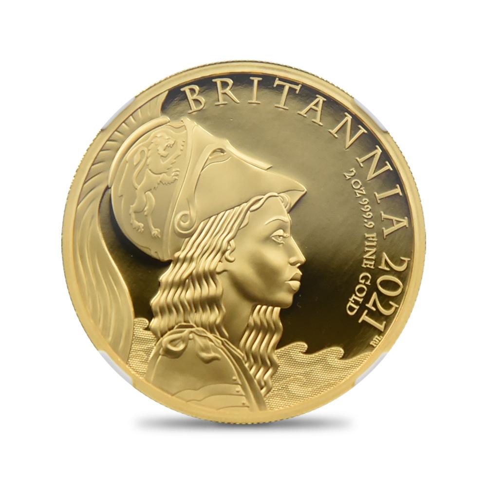 2021 エリザベス2世 プレミアムブリタニア 200ポンド2オンス金貨 ファーストリリース NGC PF70UC 箱付き