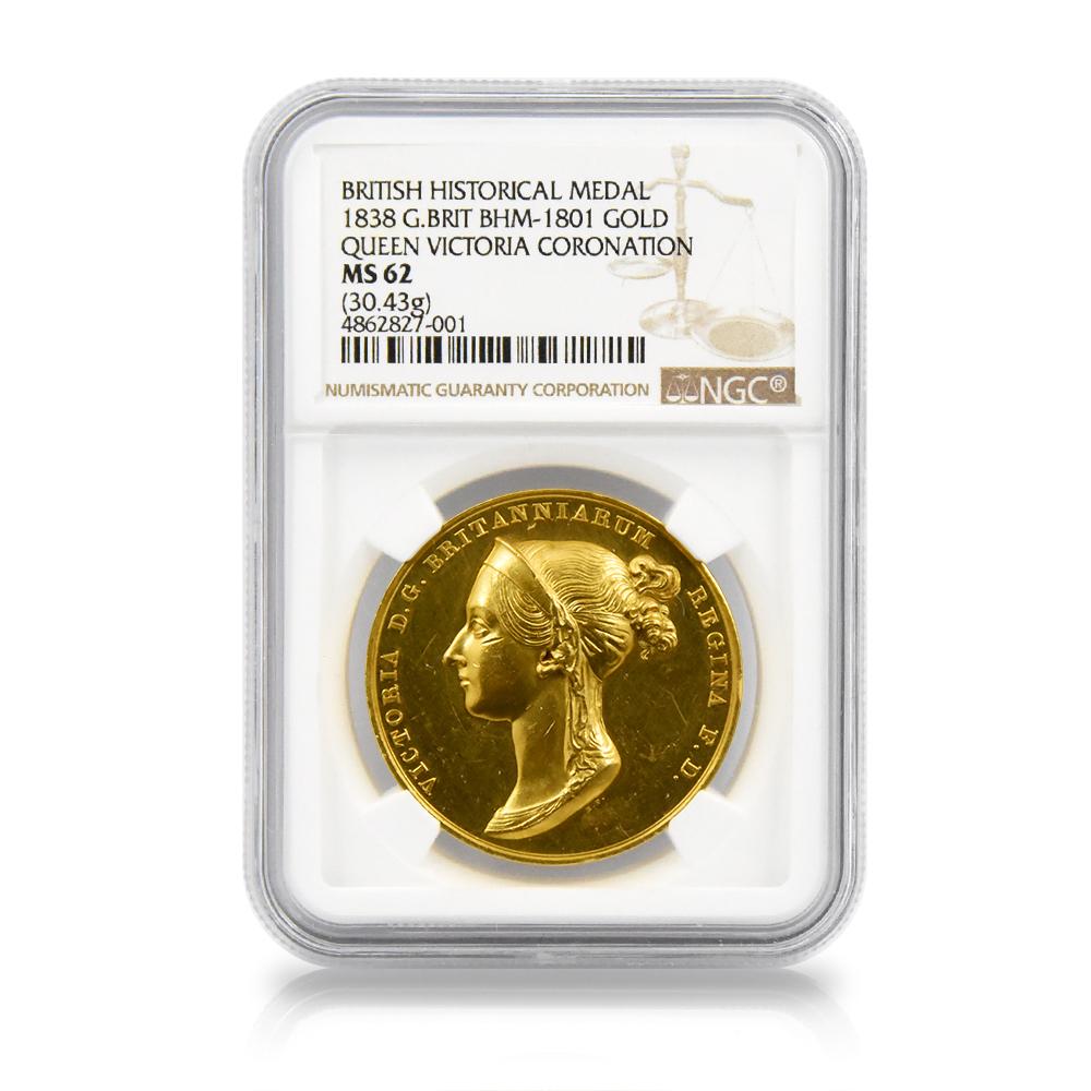 1838年 ヴィクトリア 公式戴冠記念金メダル NGC MS62