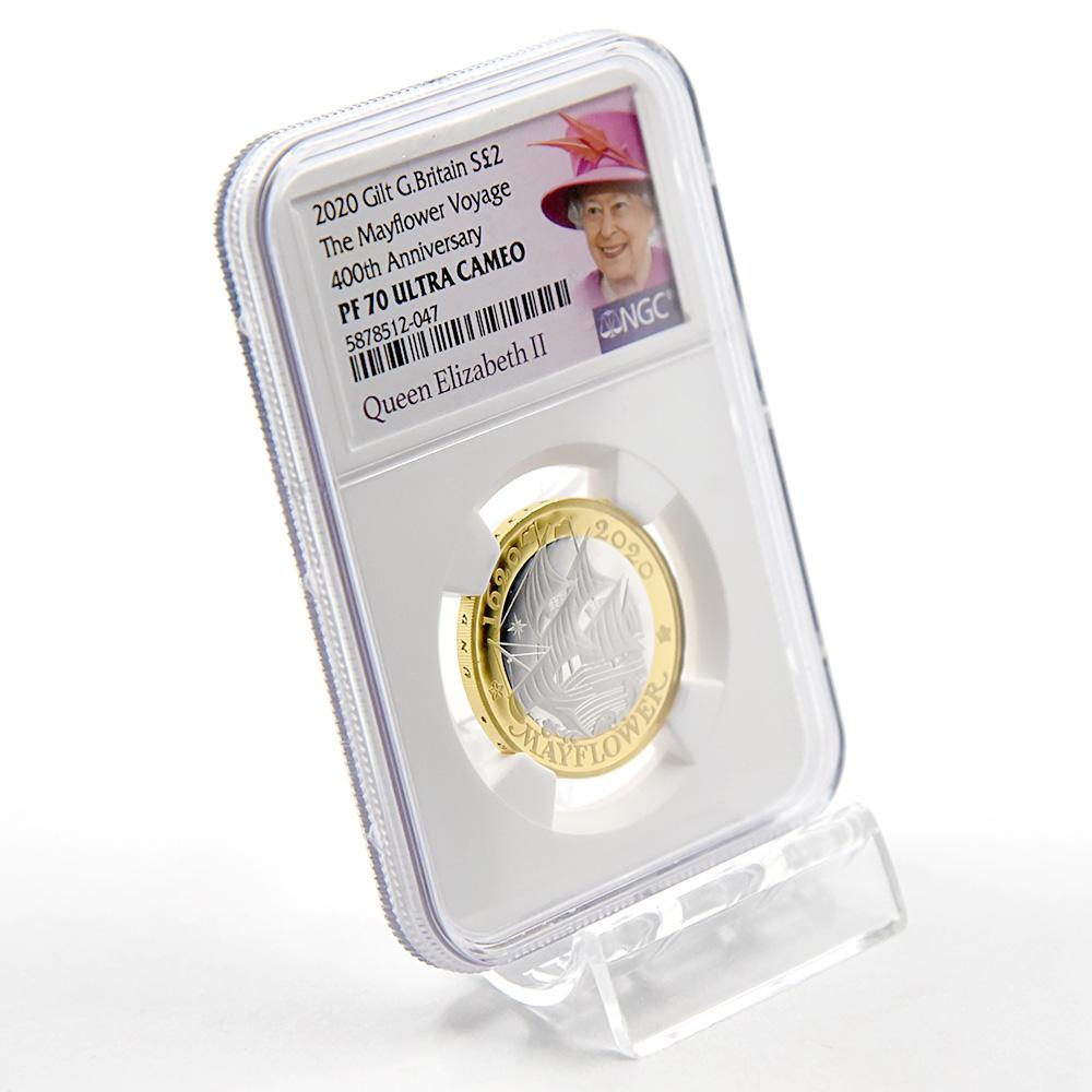 2020 エリザベス2世 メイフラワー号出航400周年 2ポンド銀貨 金メッキ付  NGC PF70UC(女王)