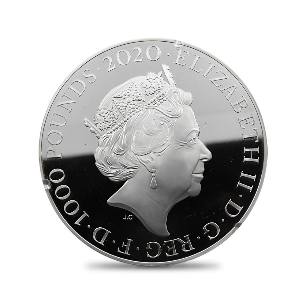 2020 エリザベス2世 スリーグレーセス 1000ポンド2キロプルーフ銀貨 ロイヤルミント発行 未鑑定 箱付き