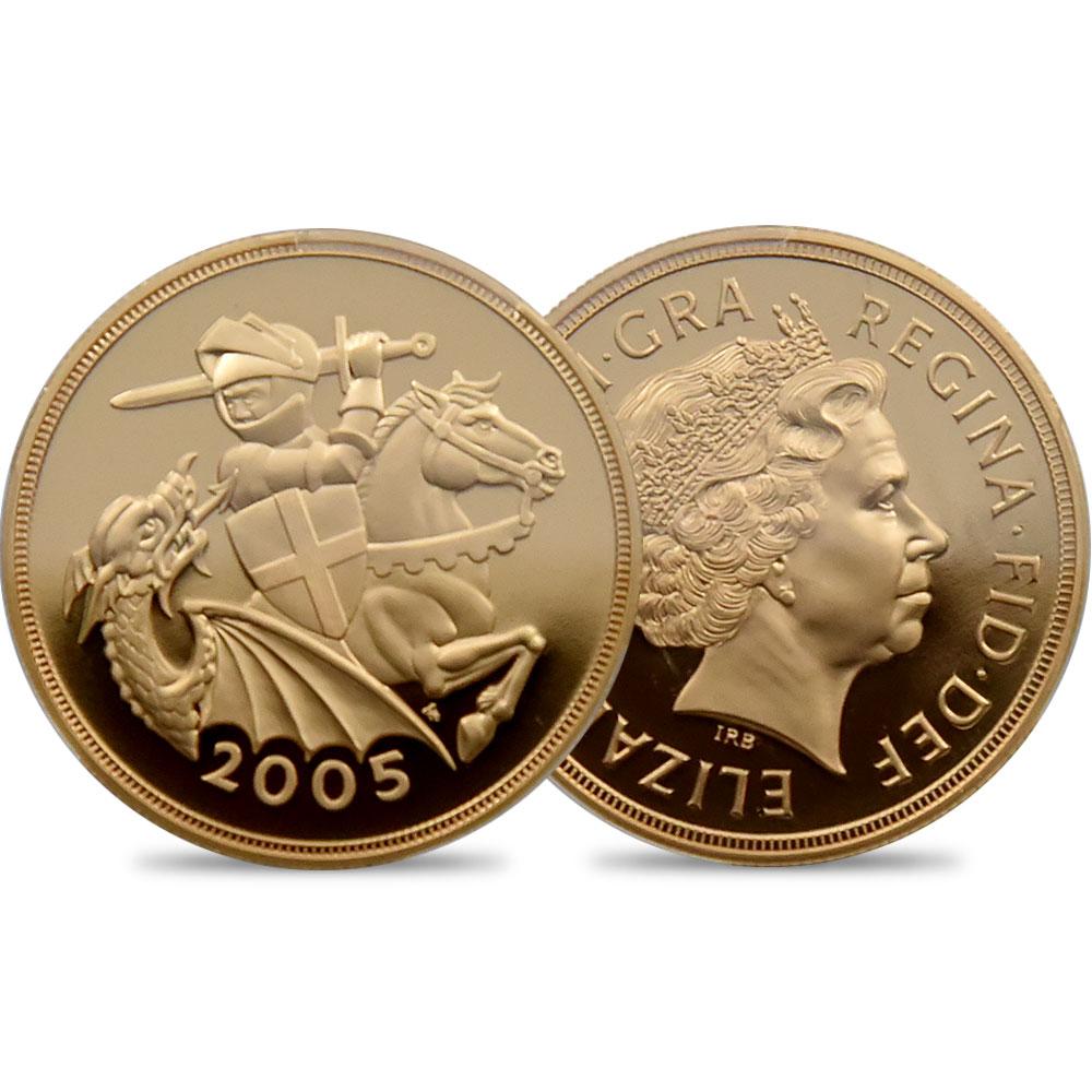 2005 エリザベス2世 セントジョージ 5ポンド金貨 PCGS PR70DC