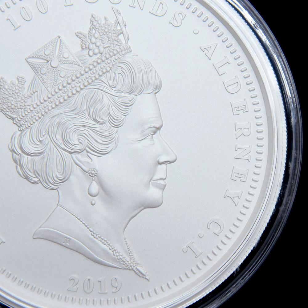 オルダニー島 2019 エリザベス2世 ウナ&ライオン 100ポンド1キロ銀貨 マットプルーフ 未鑑定 発行数99枚