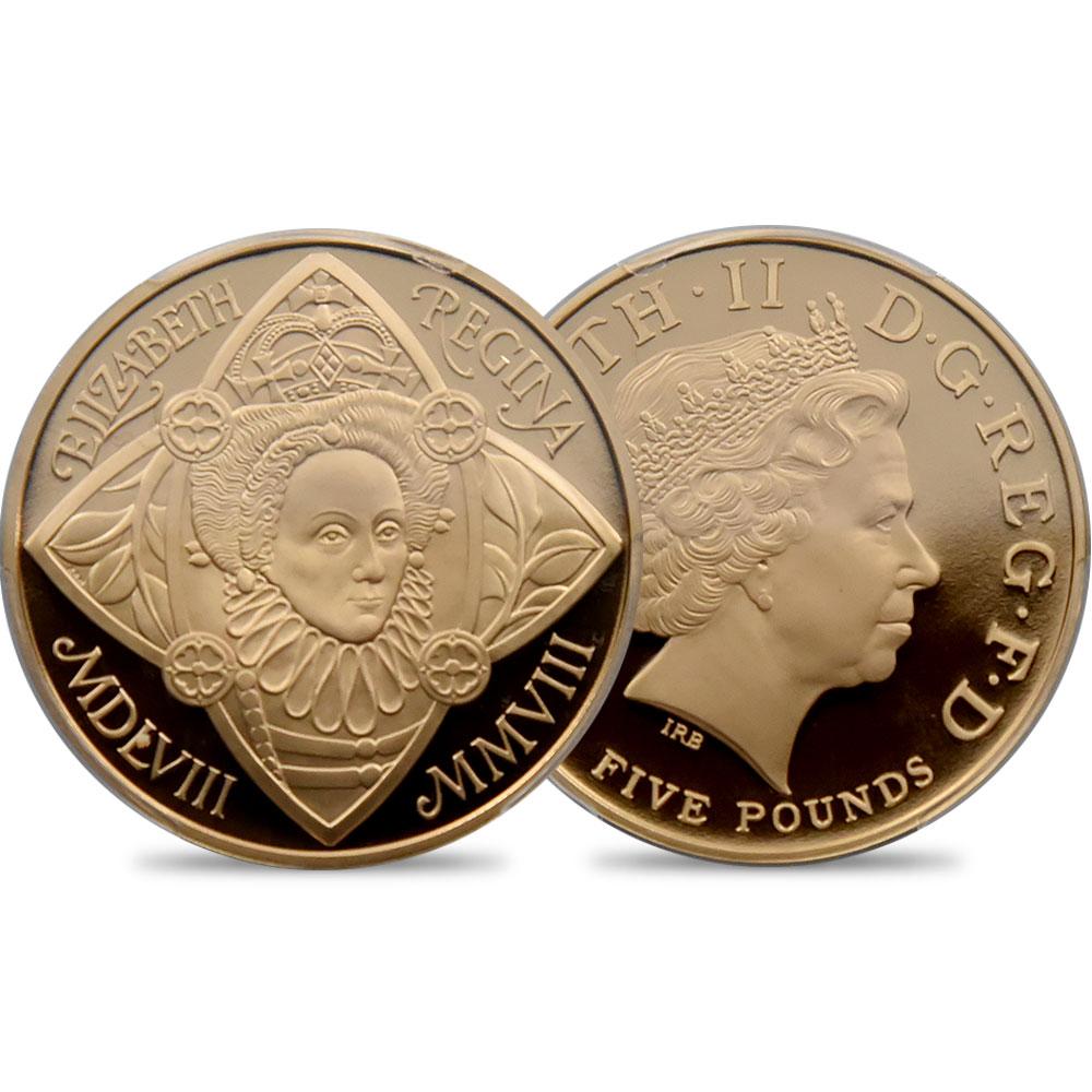 2008 エリザベス2世 エリザベス1世即位450年記念 5ポンド金貨 PCGS PR70DC