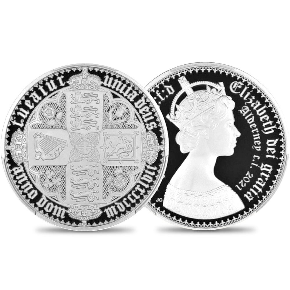 オルダニー島 2021 エリザベス2世 ニューゴチッククラウン 20ポンド10オンス銀貨 2枚セット プルーフ仕上げ PCGS PR70DC鑑定品 発行数400セット【ご予約承り品】