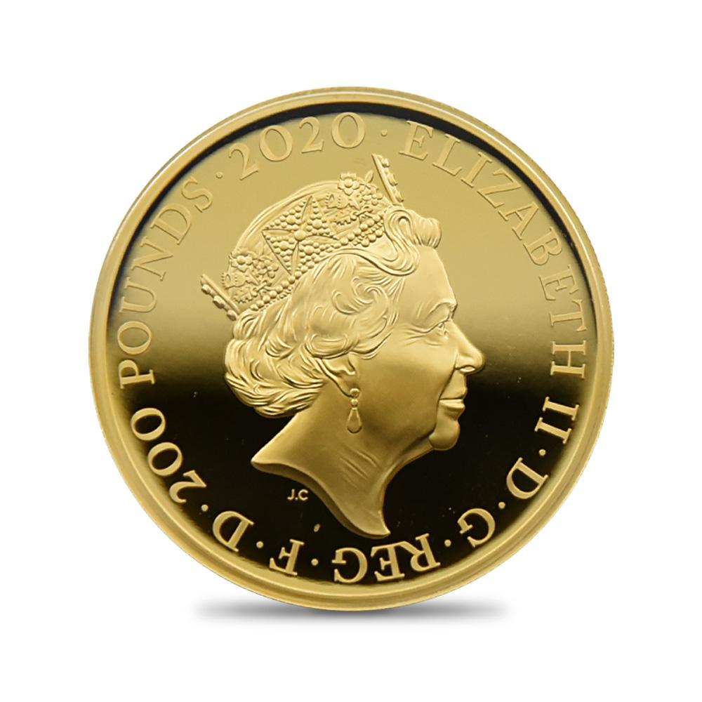 2020 エリザベス2世 スリーグレーセス 200ポンド2オンスプルーフ金貨 ロイヤルミント発行 未鑑定 箱付き