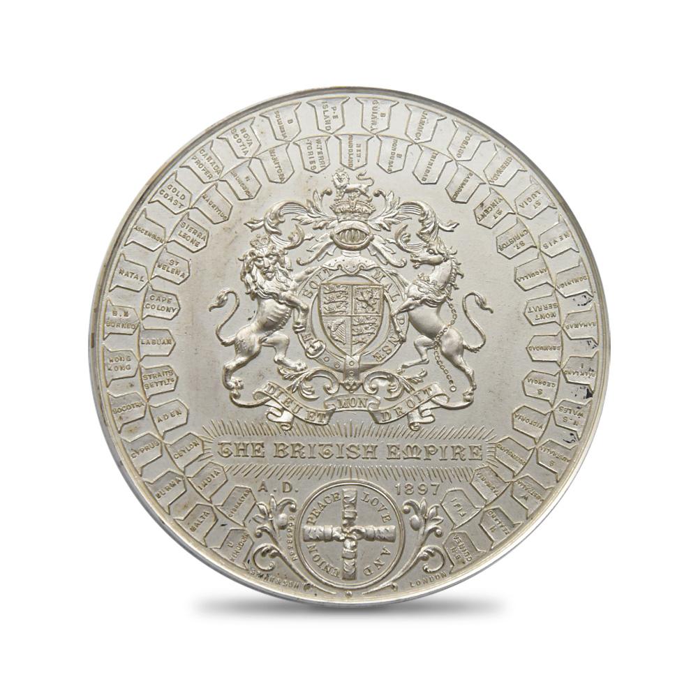 1897 ヴィクトリア女王 戴冠60周年記念 ダイヤモンドジュビリー 試作銀メダル マット仕上 PCGS SP65