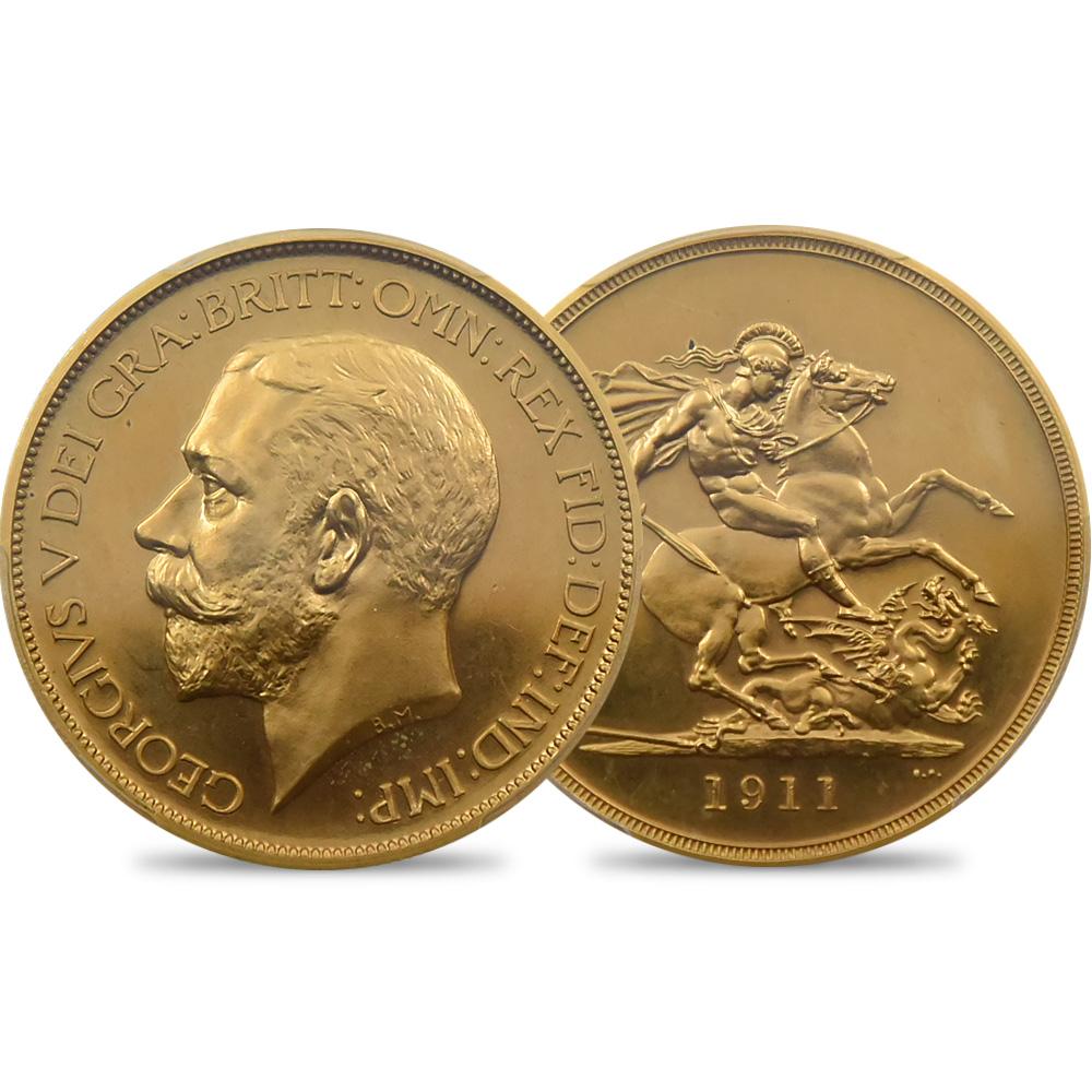 1911 ジョージ5世 聖ジョージ竜退治 5ポンド金貨 PCGS PR64