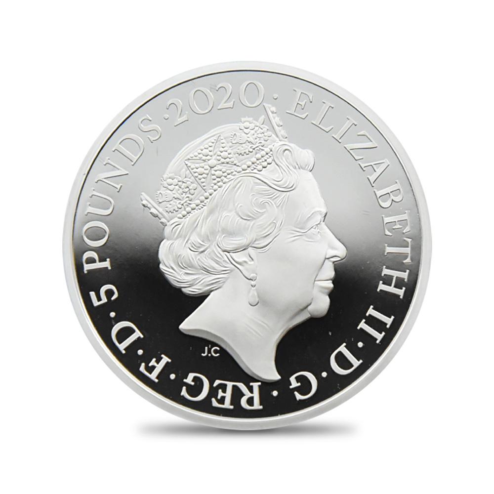 2020 エリザベス2世 スリーグレーセス 5ポンド2オンスプルーフ銀貨 ロイヤルミント発行 未鑑定 箱付き