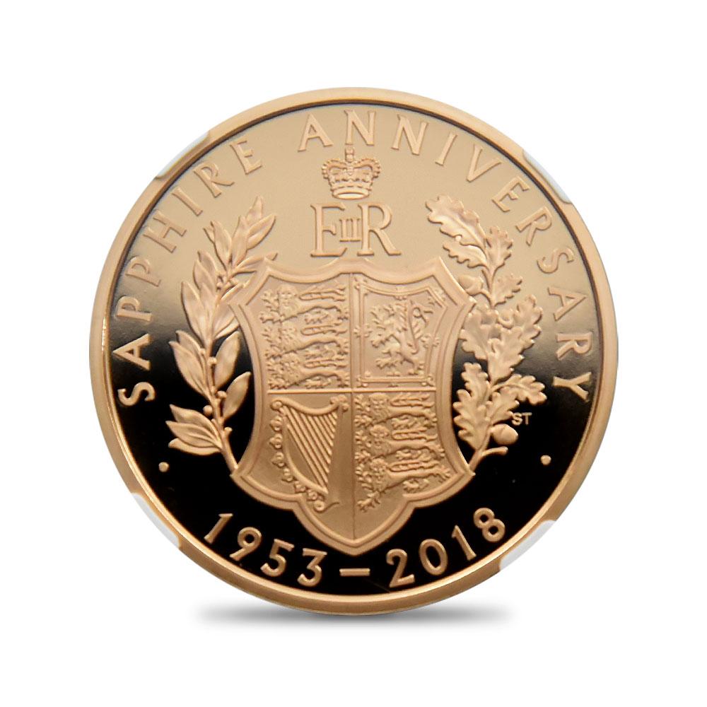 2018 エリザベス2世 65周年記念サファイアコロネーション 5ポンド金貨 NGC PF70UC