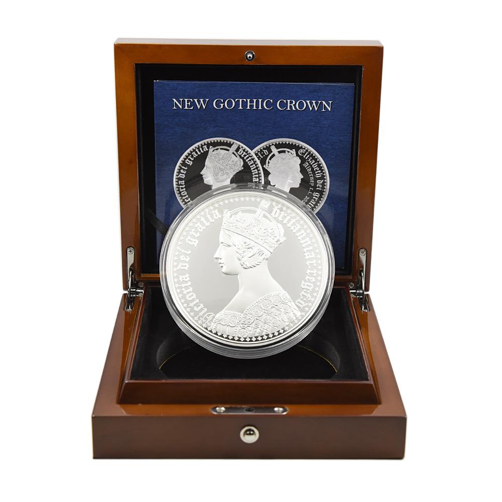 オルダニー島 2021 エリザベス2世 ニューゴチッククラウン 100ポンド1キロ銀貨 2枚セット プルーフ仕上げ 未鑑定 発行数250セット【ご予約承り品】