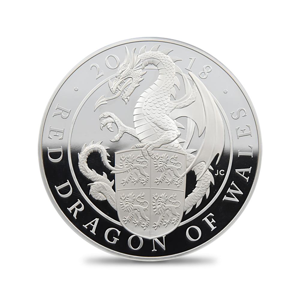 2018 エリザベス2世 クイーンズビースト ウェールズの赤いドラゴン 500ポンド1キロ銀貨 NGC PF70UC
