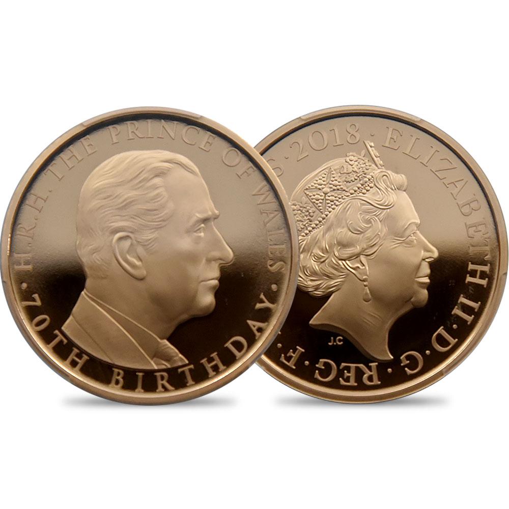 2018 エリザベス2世 チャールズ皇太子生誕70周年記念 5ポンド金貨 PCGS PR70DC