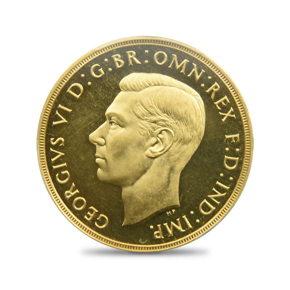 1937年 ジョージ6世 聖ジョージ竜退治 5ポンド金貨 PCGS PR64CA