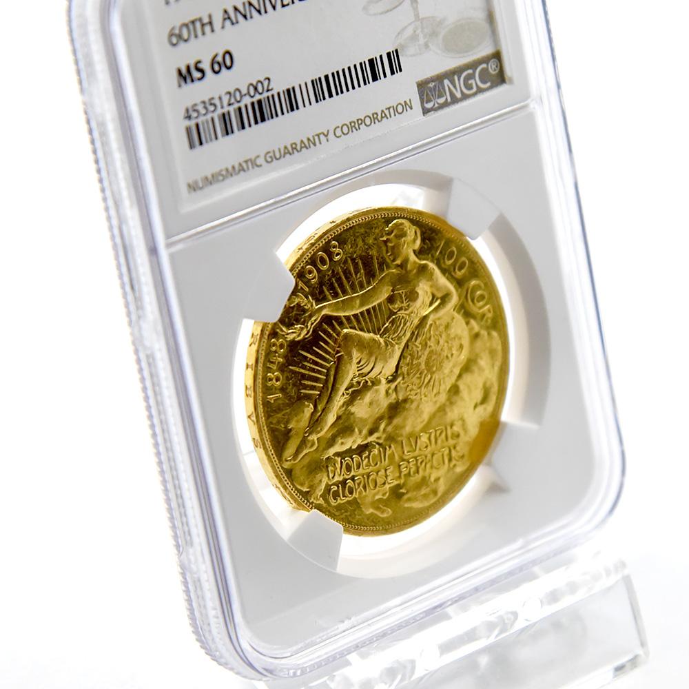 オーストリア 1908 皇位60周年記念 雲上の女神 100クローネ金貨 NGC MS60
