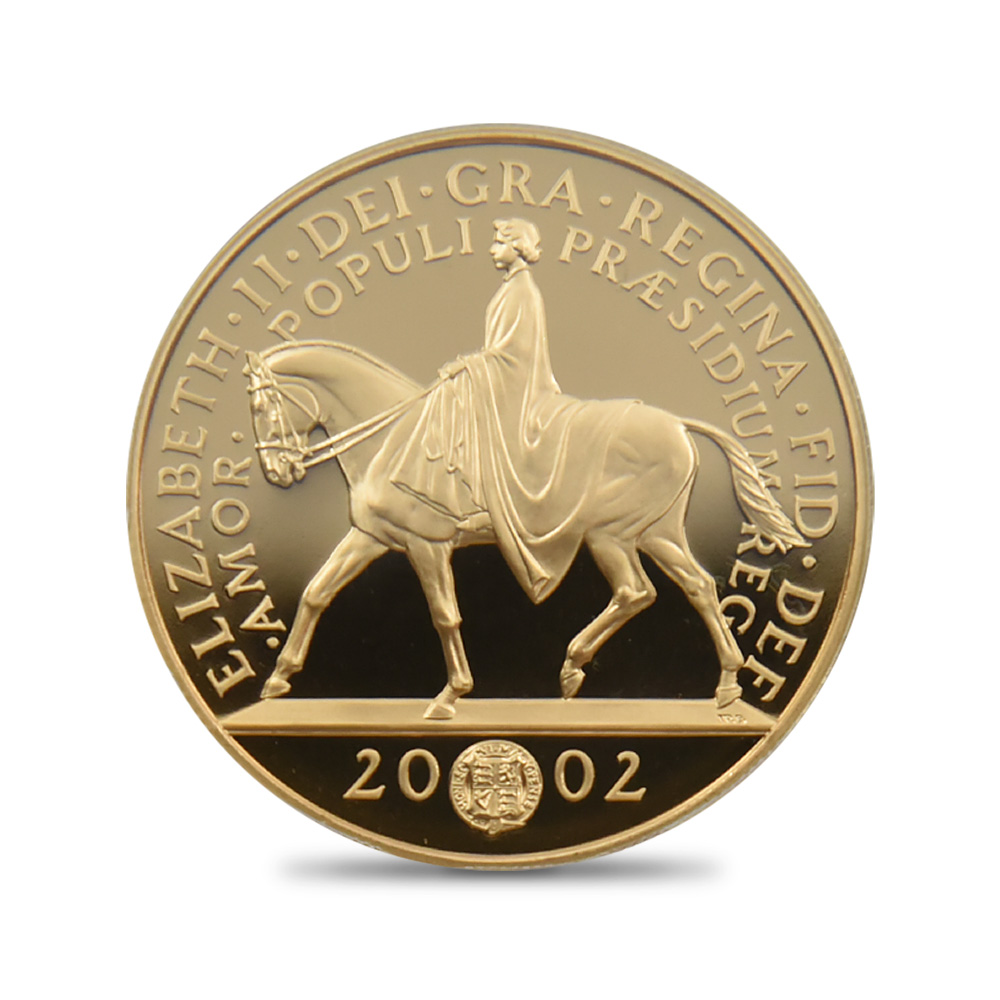 2002 ゴールデンジュビリー 5ポンド金貨 PCGS PR70DC 3,500枚発行