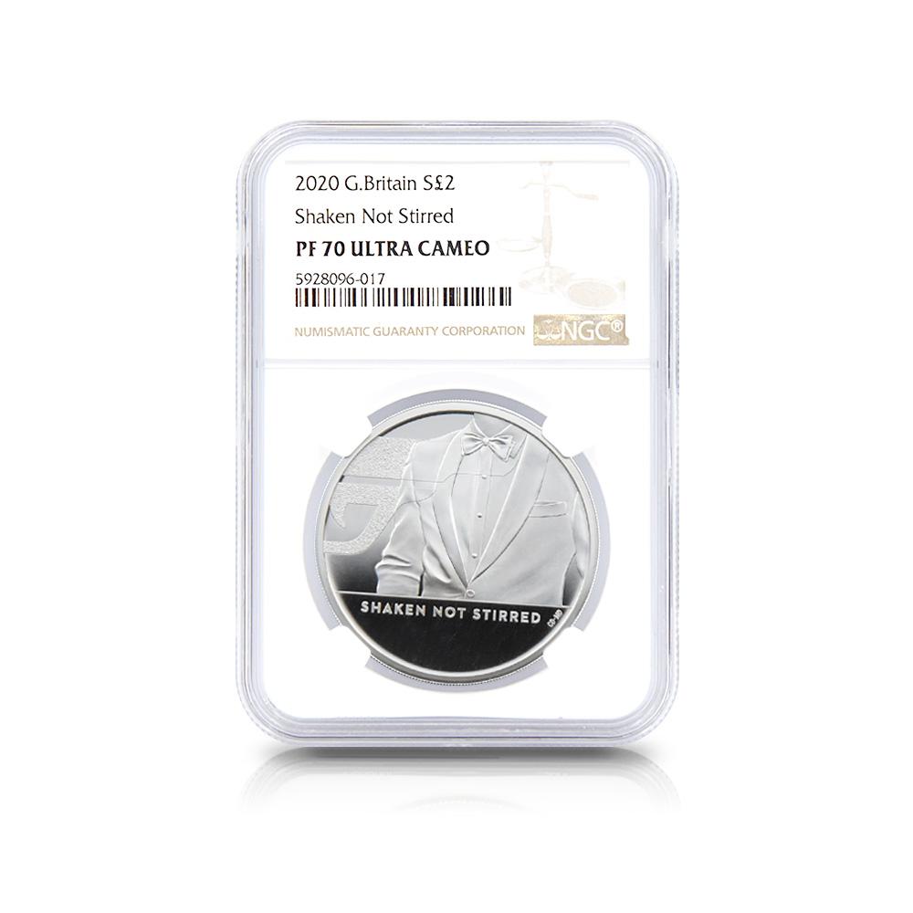 2020 エリザベス2世 007 ジェームズ・ボンド 第3貨 2ポンド銀貨 NGC PF70UC
