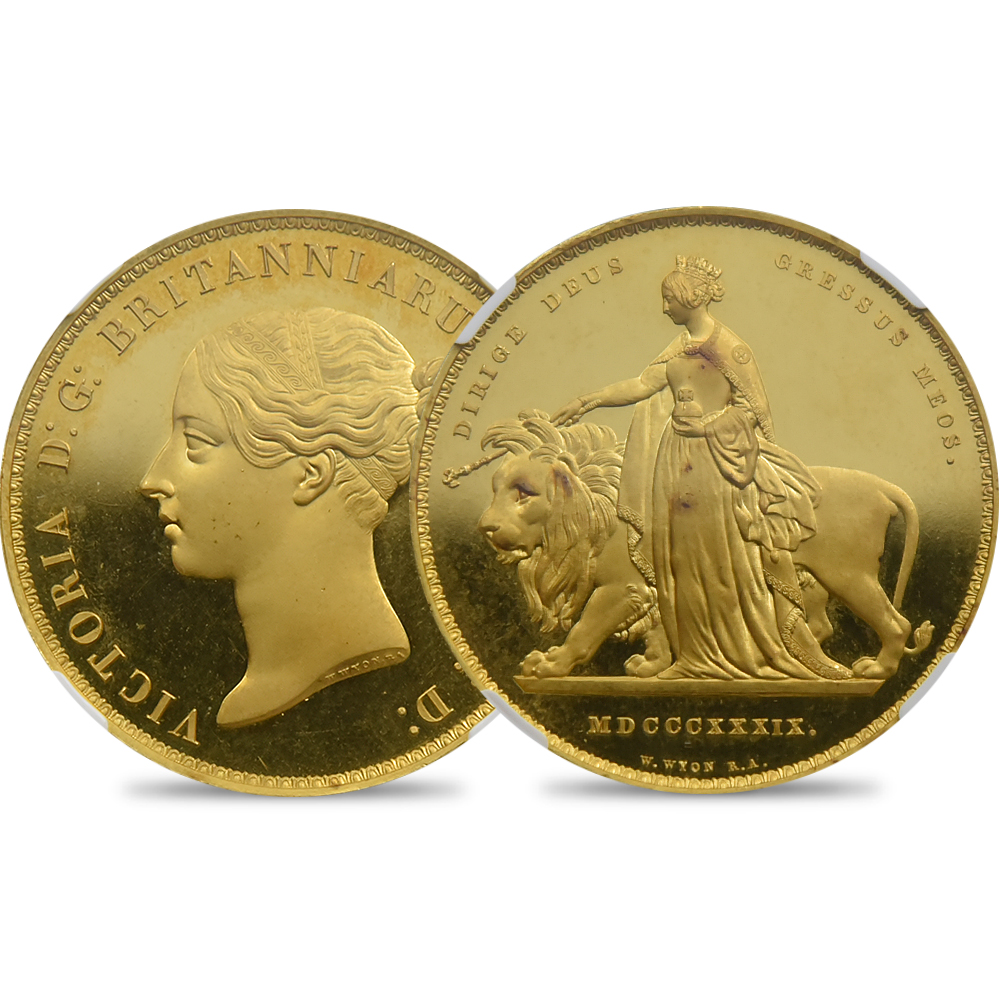 1839 ヴィクトリア女王 ウナ&ライオン 5ポンド金貨 NGC PF66UC WR-278 世界で1枚の最高鑑定